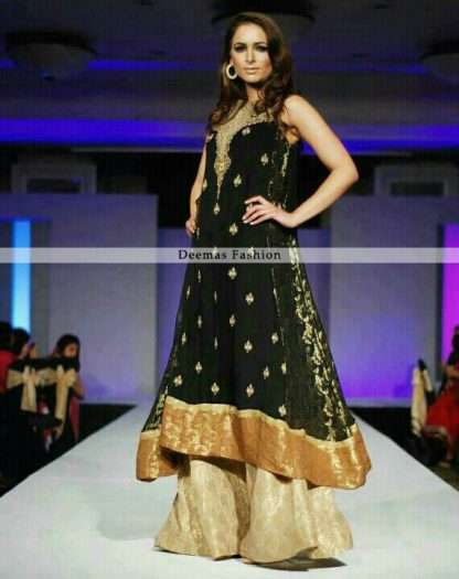 Latest Pakistani Designer Dress Black Aline Frock Sharara