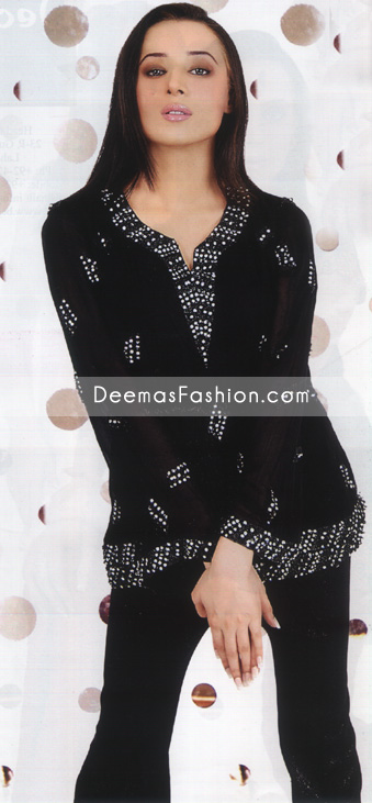 Latest Pakistani Fashion – Black Silver Kurti