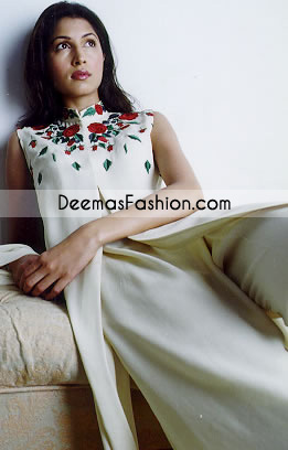 Latest Pakistani Fashion Elegant White Casual Dress