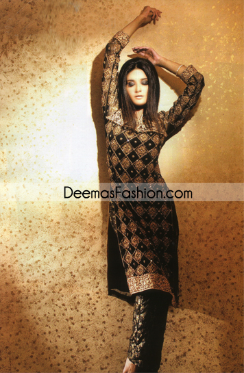 Latest Pakistani Formal Wear – Black Heavy Embroidered Dress