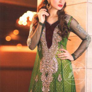 Latest Pakistani Mehndi Wear Bottle Green Frock With Embellished Long Neckline