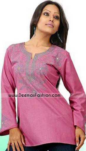 Pakistani Latest Kurta Trend – Pink Embroidered Kurti Wear