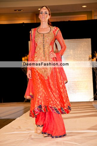 Latest Pakistani Formal Wear Deep Orange Sharara