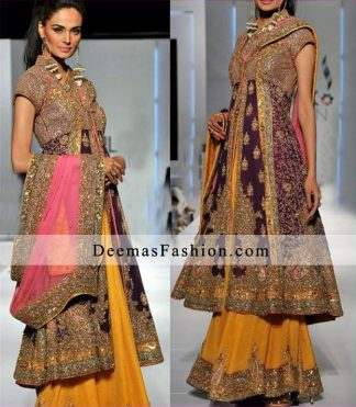 Latest Pakistani Bridal Wear Dark Purple Shirt Golden Yellow Sharara