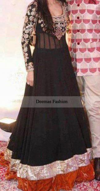 Latest Designer Dress Black Anarkali Pishwas Dress