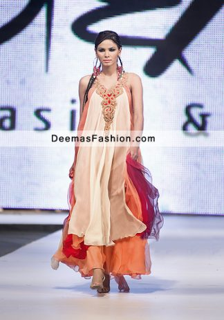 Latest Pakistani Party Wear Dress Multi Pannel Frock Sharara