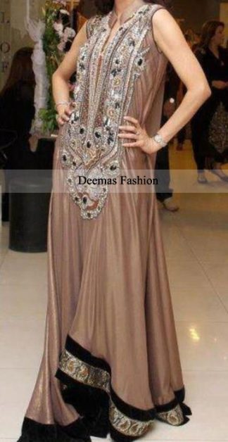 Light Brown Anarkali Frock Dress