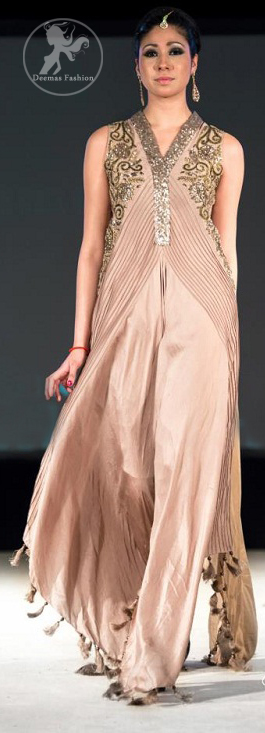 Light-fawn-silky-gown-with-embellished-bodice