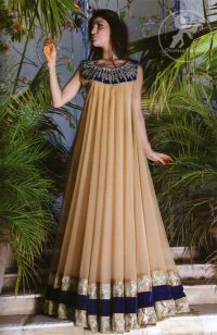 Light-gold-and-royal-blue-casual-frock-and-churidar-pajama
