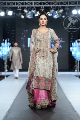 Light-green-bridal-dress-with-long-shirt-and-pink-lehnga