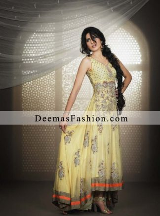 Light Yellow Classical Anarkali Pishwas