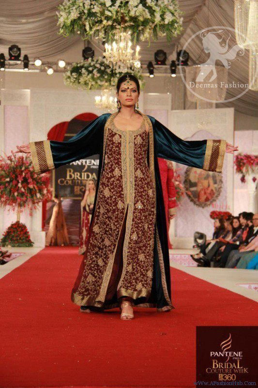 Maroon Fully Embellished Front Gown