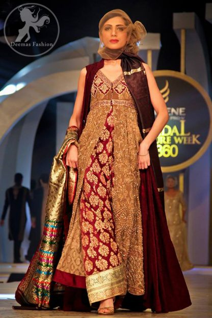 Maroon Heavy Formal Front Open Gown with Inner Shirt