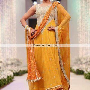 Mendi Wear Golden Yellow Anarkali Frock Churidar Dress