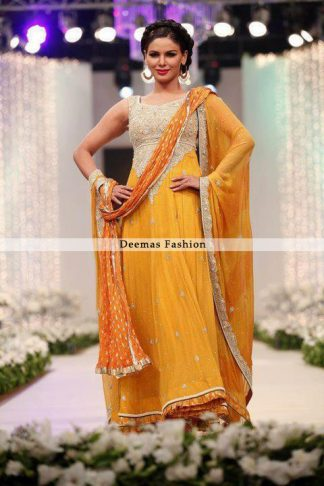 Mendi Wear Golden Yellow Anarkali Frock Churidar Dress