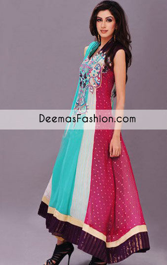 Multi Color Anarkali Pishwas Dress