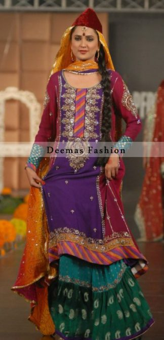 Multiple Color Mehndi Wear Bridal Dress