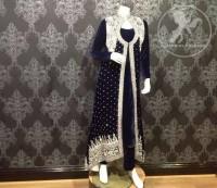 Navy Blue Front Open Velvet Gown Trouser