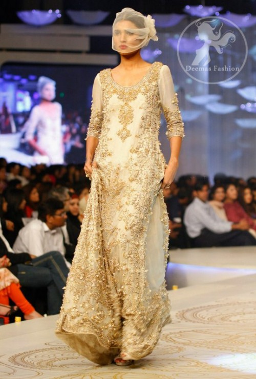 Off White Back Trail Heavy Embroidered Walima Maxi Dress