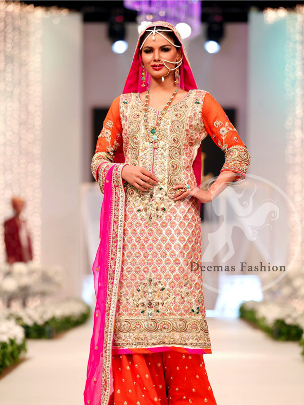 Shocking Pink Mehndi Occasion Shirt Sharara