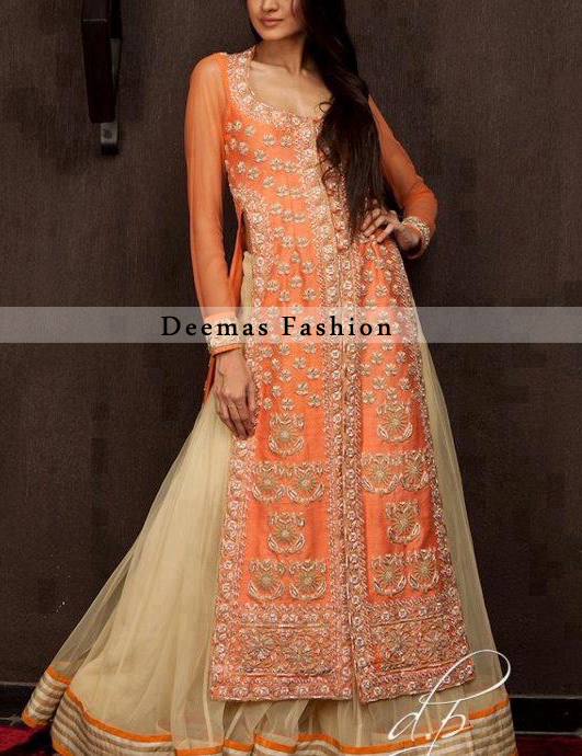 Orange White Front Open Shirt Sharara