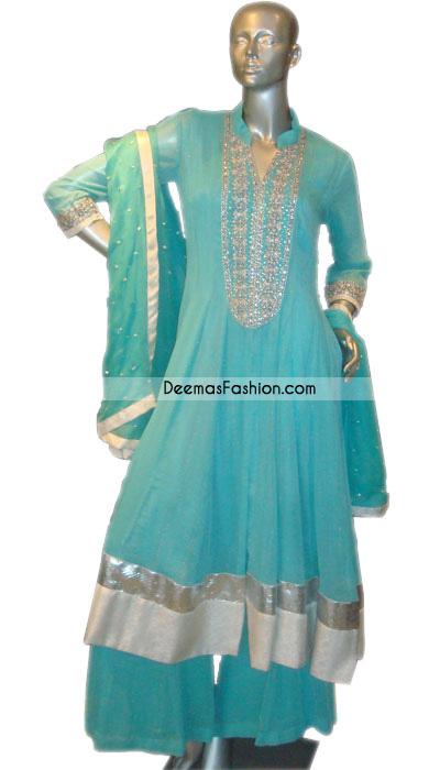 Pakistani Designer Wear – Ferozi Anarkali Aline Frock