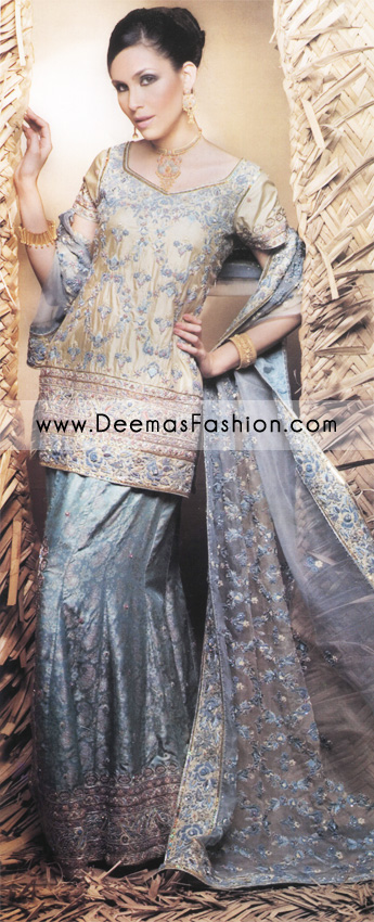 Pakistani Bridal Dress – Greyish blue and Golden Lehnga