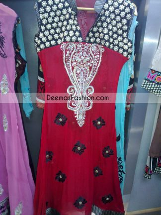 Pakistani Casual Fashion Red Black Casual Dress