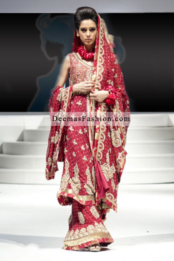 Pakistani Designer Bridal Wear Fashion Bright Red Sharara
