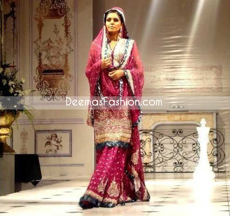 Pakistani Designer Clothes Shocking Pink Sharara