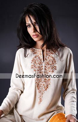 Latest Designer Clothes White Embroidered Kurta
