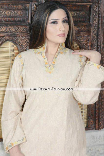 Stand Collar Designs For Kurti : Pakistani designers kurti beige embroidered top