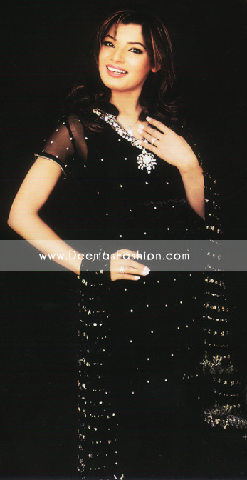 Pakistani Designer Dress – Black Silver Embroidered Clothes