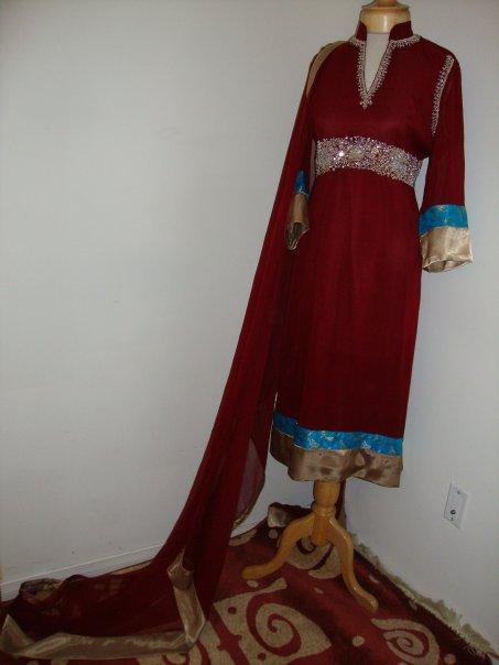 Pakistani Designer Dress – Maroon Casual Wear