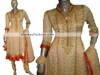 Pakistani Designer Wear - Beige Red Anarkali Churidar Dress