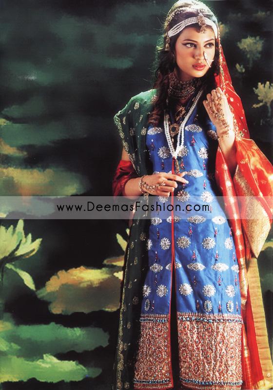 Pakistani Designer Wear Bridal Dress – Red & Blue