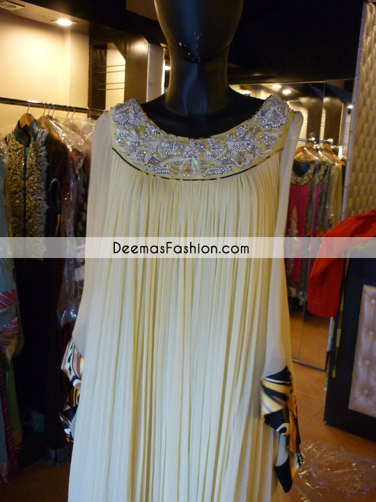 Pakistani Designer Wear Collection Beige Gown