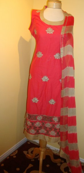 Pakistani Designer Wear Dress – Red Casual Dress