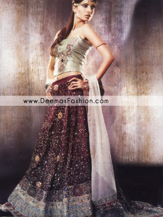 Pakistani Designer Wear Lehnga - Maroon Green Bridal Dress