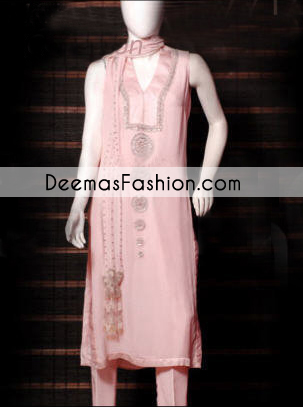 Pakistani Designer Wear Pink Casual Dress