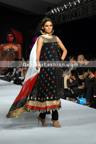 Pakistani- Designer- Wear-stylish-black-anarkali-Dress