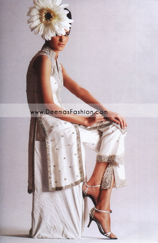 Pakistani Designers Formal Wear – Elegant White Gown Dress