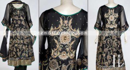 Latest Pakistani Dress - Black Anarkali Embroidered Frock