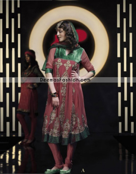 Maroon and Green Anarkali Frock