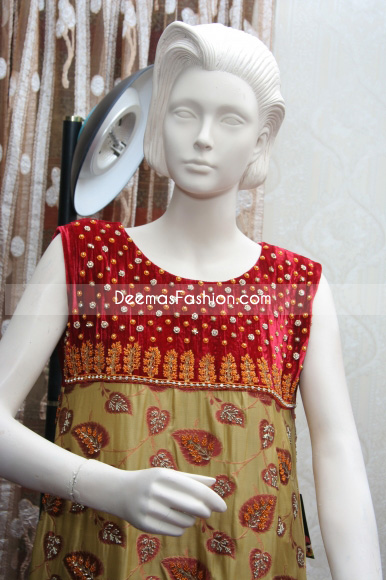 Latest Pakistani Formal Wear Red Golden Dress