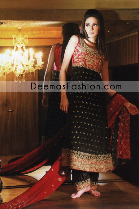 Pakistani Formal Wear – Black A-Line Embroidered Dress