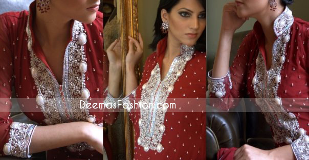 Pakistani Formal Wear Designs – Deep Red Embroidered Dress