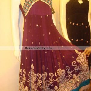 Maroon crinkle chiffon anarkali style Embroidered top having beautiful embellishments on bodice and bottom in floral and leaf pattern.