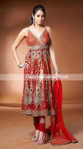 Pakistani Traditional Anarkali Churidar Red & Golden Dress