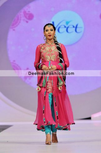 Pakistani Designer Dress Shocking Pink Ferozi Churidar Party Wear